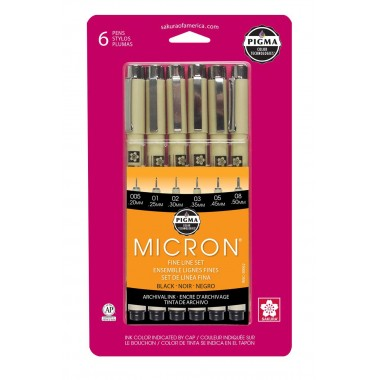 Sakura Pigma 30062 Micron Blister Card Ink Pen Set, Black, Ass't Point Sizes 6CT Set
