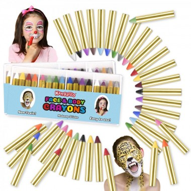 Kangaroo's Ultimate Body Paint and Face Paint Kit; 32 Face Paint Crayons for Fun Face Painting, Kids Makeup