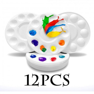 12 Pcs Paint Tray Palettes Plastic for DIY Craft Professional Art Painting