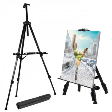 T-SIGN 66 Inches Reinforced Artist Easel Stand, Extra Thick Aluminum Metal Tripod Display Easel 21 to 66 Inches Adjustable Height with Portable Bag for Floor/Table-Top Drawing and Displaying