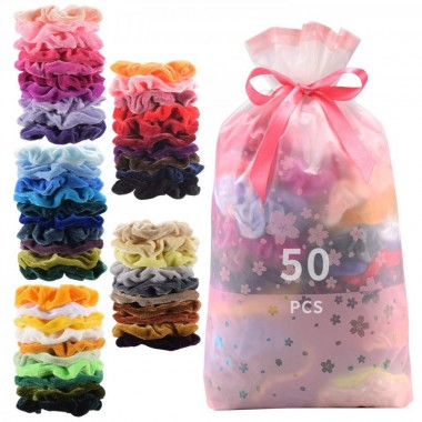 50 Pcs Premium Velvet Hair Scrunchies Hair Bands for Women or Girls Hair Accessories,Great Gift for halloween Thanksgiving day and Christmas