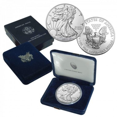 2019 American Silver Eagle Coin $1 Brilliant Uncirculated US Mint Box