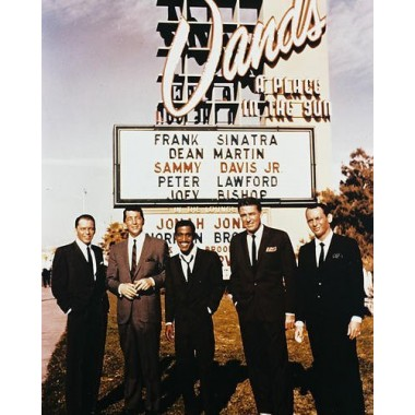 Frank Sinatra 11x14 Promotional Photograph with Rat Pack Dean Martin Sammy Davis Jnr Peter Lawford Joey Bishop posing outside Sands Hotel in Las Vegas Ocean's
