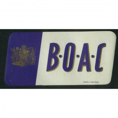 British Overseas Airways Corporation BOAC baggage sticker 2 5/8