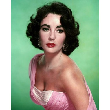 Elizabeth Taylor 8x10 Poster Stunning Promotional Photograph in Low Cut Pink Gown Beautiful Pose