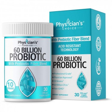 Probiotics 60 Billion CFU - Dr. Approved Probiotics for Women, Probiotics for Men and Adults, Natural; Shelf Stable Probiotic Supplement with Organic Prebiotic, Acidophilus Probiotic; 30 Capsules
