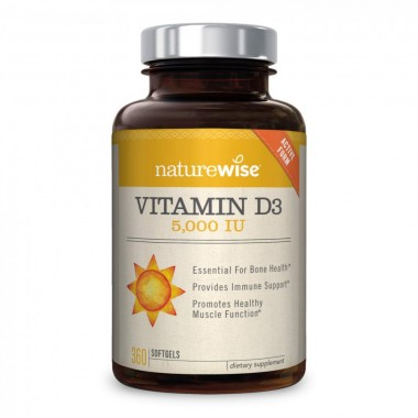 NatureWise Vitamin D3 5,000 IU for Healthy Muscle Function, Bone Health, & Immune Support | Non-GMO in Cold-Pressed Organic Olive Oil & Gluten-Free (Packaging May Vary) [360 Count]