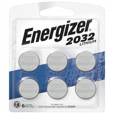 Energizer CR2032 Batteries, 3V Lithium Coin Cell 2032 Watch Battery, (6 Count) - Packaging May Vary