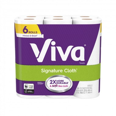 Viva Signature Cloth Choose-A-Sheet Paper Towels, Soft & Strong Kitchen Paper Towels, White, 6 Count (58 Sheetsper Roll)