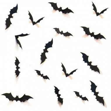 HOZZQ DIY Halloween Party Supplies PVC 3D Decorative Scary Bats Wall Decal Wall Sticker, Halloween Eve Decor Home Window Decoration Set, 28pcs, Black